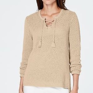 J. Jill Open Stitch Lace Up Sweater